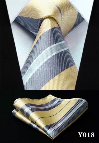 Men's Silk Coordinated Tie Set - Yellow Gray Striped