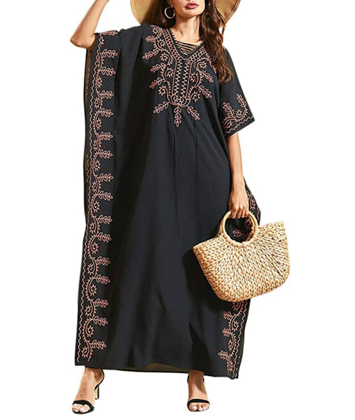 Women's Caftan Oversized Loungewear, One Size, Solid Black with Brown Embroidery