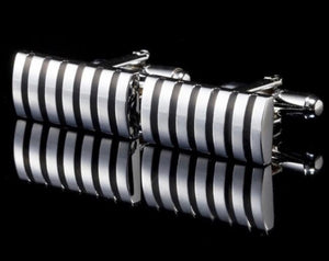 Stainless Steel Fashion Cuff Links - Black & Silver Stripe