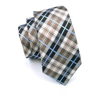 Men's Silk Coordinated Tie Set - Beige Blue Plaid