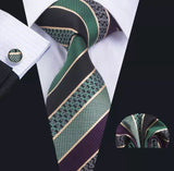 Men's Silk Coordinated Tie Set - Purple Green Striped