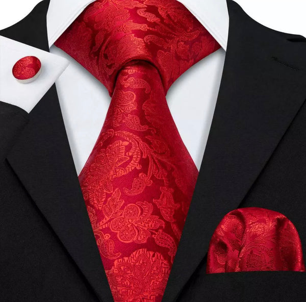 Men's Coordinated Silk Tie Set - Solid Red Paisley
