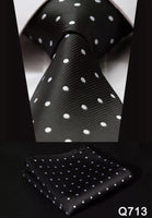 Men's Tie Set - Black with Small White Polka Dots