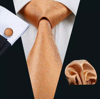 Men's Silk Coordinated Tie Set - Orange Shimmer