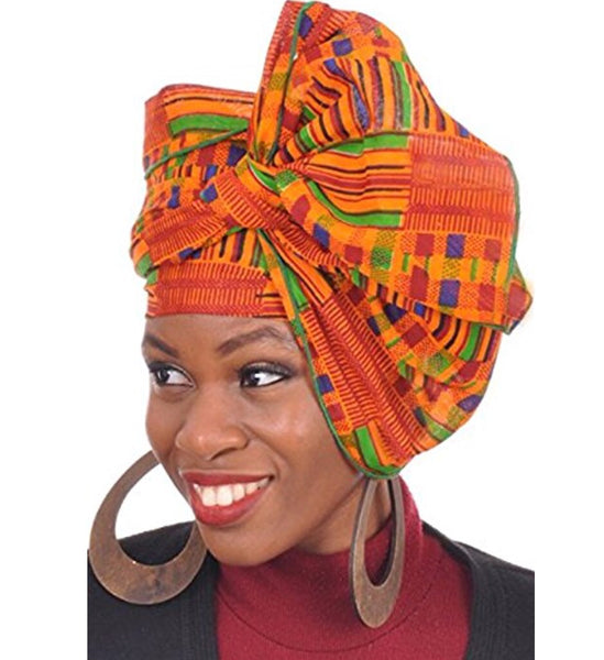 "Kente Print Head Wrap, 70"" x 20"""