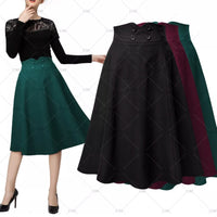 ✨ Women's A-Line High Waist Pleated Skirt - 4 Color Options, US Sizes 4 - 14