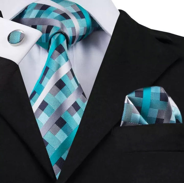 Men's Silk Coordinated Tie Set - Teal, Black, Silver Squared