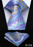 Men's Silk Coordinated Tie Set - Lavender Multi Shaped