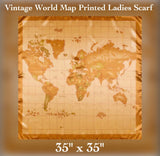 "✨Vintage World Map Printed Scarf, 35"" x 35"""