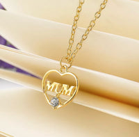 Rhinestone Gold Slender Heart Mum Necklace