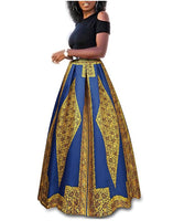 Cold Shoulder Top With Ankle Length Gold and Blue Skirt, Size Small - 2XLarge