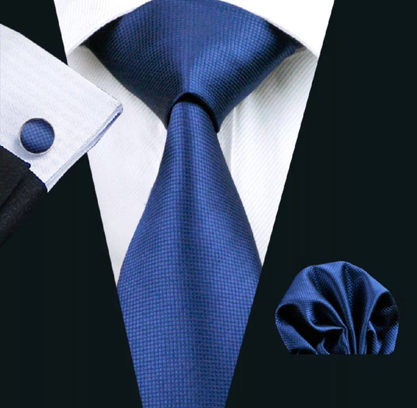 Men's Silk Coordinated Tie Set - Royal Blue