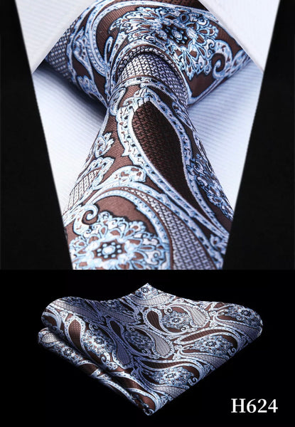 Men's Silk Coordinated Tie Set - Sky Blue & Brown Paisley