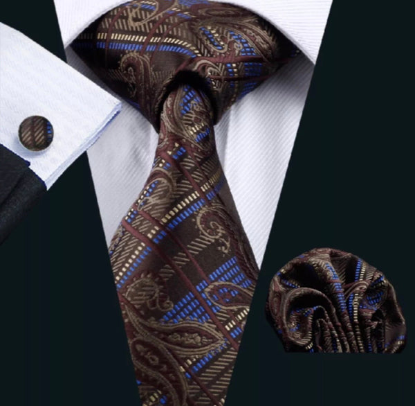Men's Silk Coordinated Tie Set - Brown Purple Paisley
