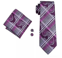 Men's Silk Coordinated Tie Set - Purple Paisley Stripe