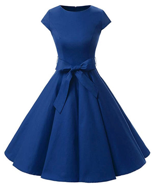 Vintage Inspired Cap Sleeve Dress, Size XS - 3XL, Royal Blue