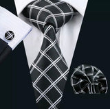 Men's Silk Coordinated Tie Set - Black with White Stripes