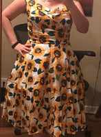 Classy Audrey Hepburn Style 1950s Vintage Inspired Dress (Sunflower Yellow)