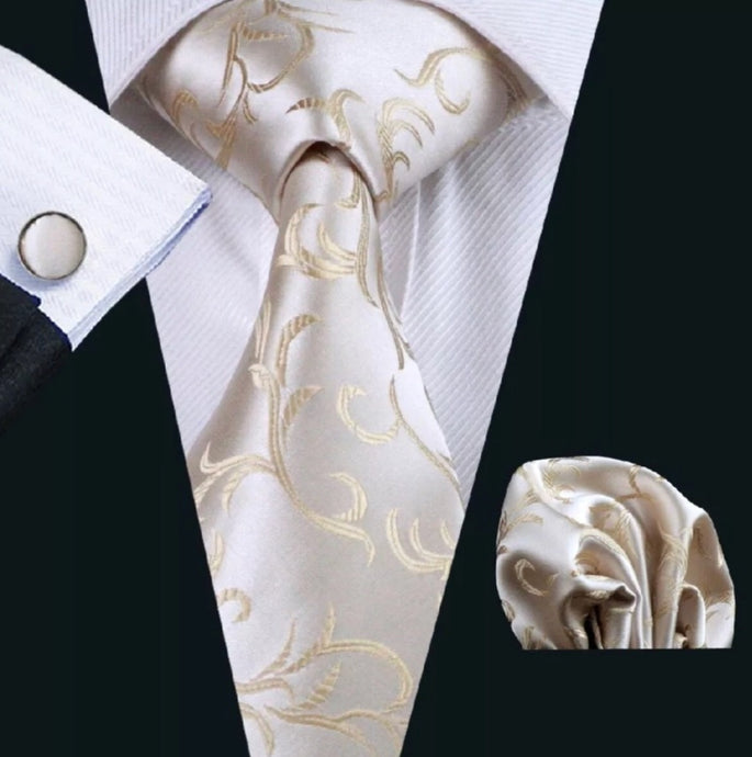 Men's Coordinated Silk Tie Set - Ivory Paisley