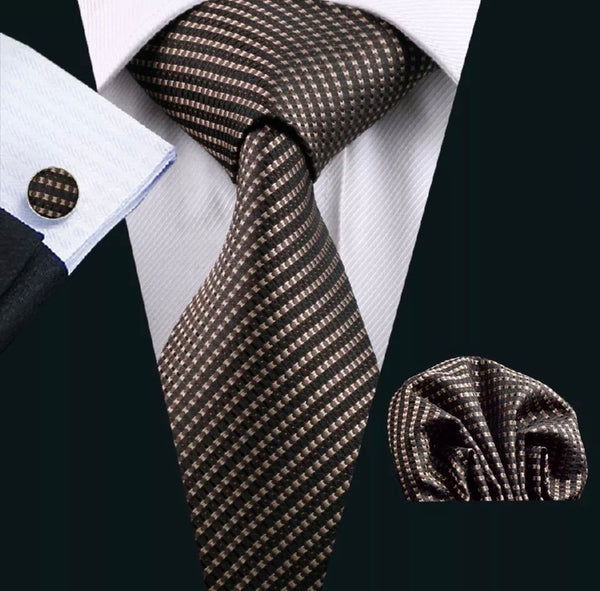 Men's Silk Coordinated Tie Set - Brown Mini Squared
