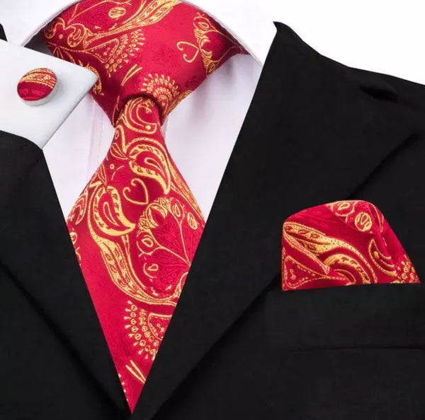 Men's Silk Coordinated Tie Set - Red Gold Paisley