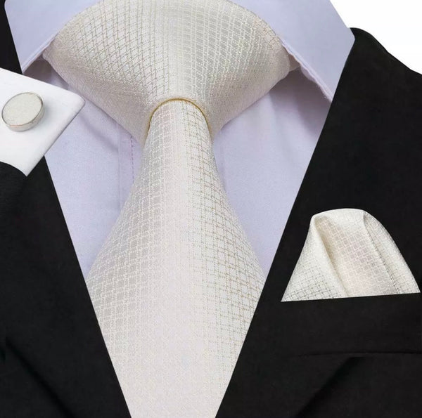 Men's Coordinated Silk Tie Set - Solid Off White Squared