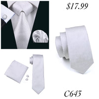 Men's Silk Coordinated Tie Set - White Maze