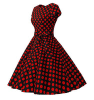 Rockability Cap-Sleeve Dress, Black with Red Polka Dots, Sizes XS - 3XL