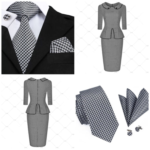 Coordinated Couple - Tunic Checkered Pencil Dress & Checkered Silk Tie