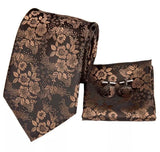 Men's Silk Coordinated Tie Set - Classic Brown Floral