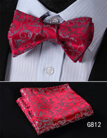Men's Silk Bow Tie Set - Red And Gray Paisley