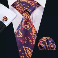 Men's Silk Coordinated Tie Set - Purple Orange Paisley