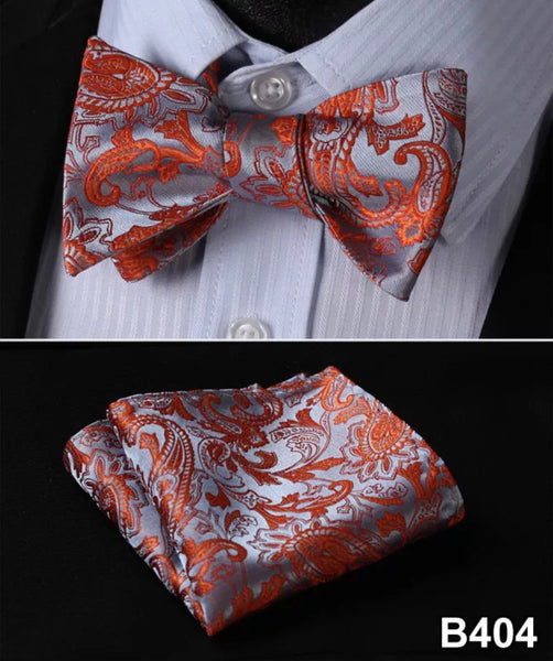 Men's Silk Bow Tie Set - Orange Silver Paisley