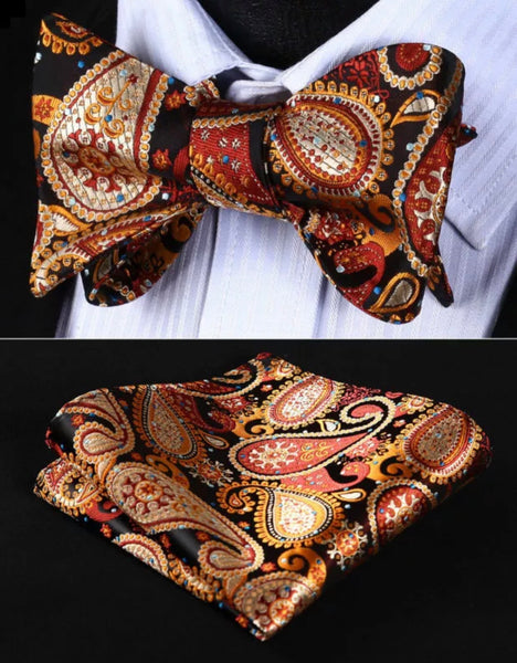 Men's Silk Bow Tie Set - Brown Orange Black Paisley