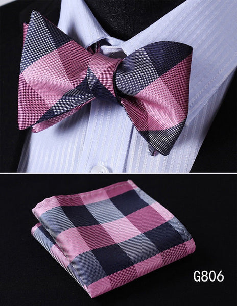 Men's Silk Bow Tie Set - Blue Pink Plaid