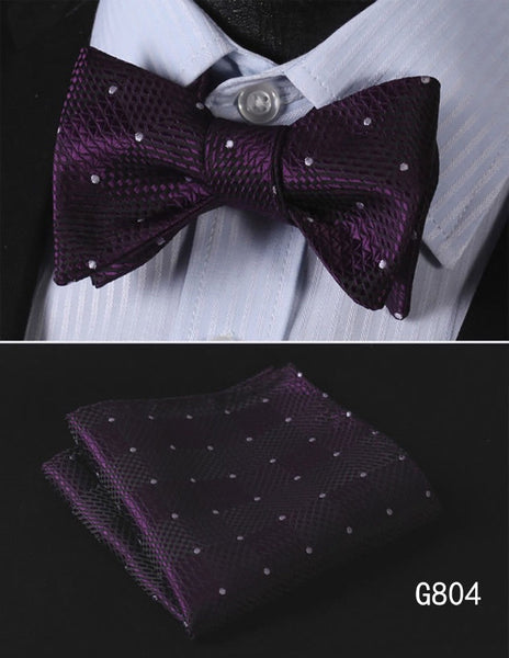 Men's Silk Bow Tie Set - Deep Purple with White Polka Dots
