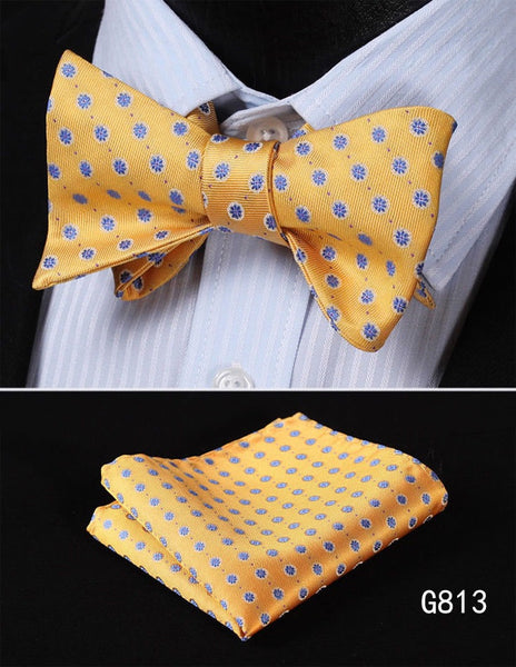 Men's Silk Bow Tie Set - Golden Yellow with Blue Florals