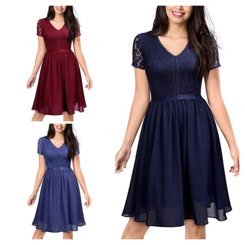 Casual Lace Chiffon Evening Dress, Sizes XSmall - 2XLarge