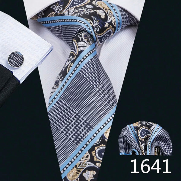 Men's Silk Coordinated Tie Set - Blue Striped Paisley