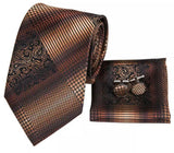 Men's Silk Coordinated Tie Set - Brown Striped