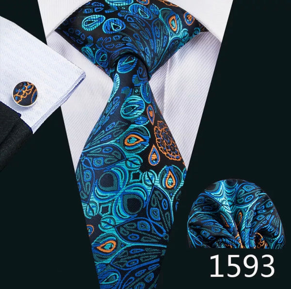 Men's Silk Coordinated Tie Set - Blue Peacock