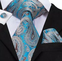Men's Silk Coordinated Tie Set - Classic Blue Brown Paisley