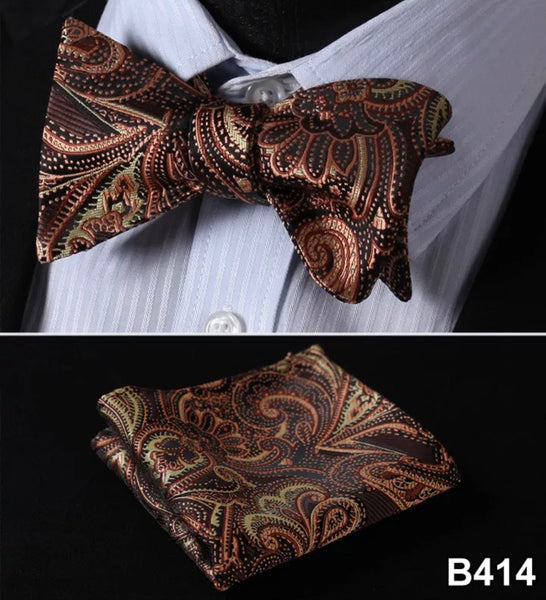 Men's Silk Bow Tie Set - Brown Black Paisley