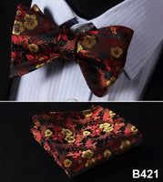 Men's Silk Bow Tie Set - Red Gold Black Floral