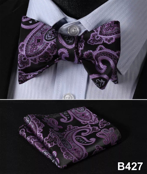 Men's Silk Bow Tie Set - Purple Black Paisley