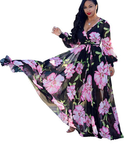 Stylish Chiffon V-Neck Floral Maxi Dress with Waisted Belt - Plus Size