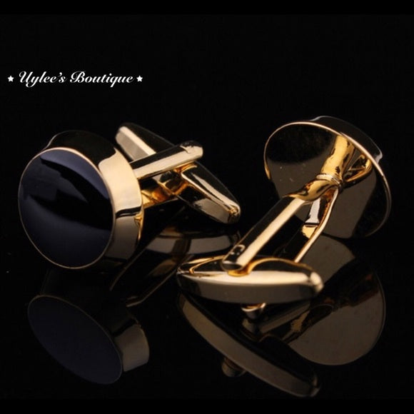Round Black and Gold Men's Cufflinks