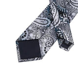 Men's Silk Coordinated Tie Set - Silver Gray Paisley Floral