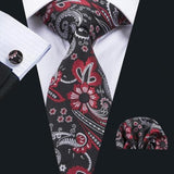Men's Silk Coordinated Tie Set - Black and Red Floral