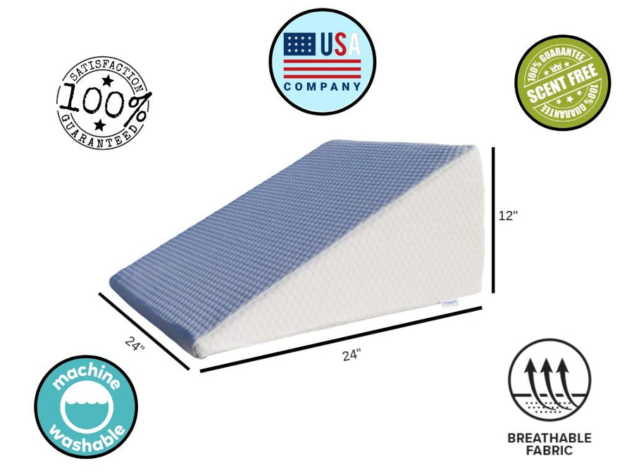Trusted Bed Sleeping Wedge Pillow - ✩100% Pure Memory Foam ✩ - Added Bonus Egyptian Cotton Cover - For Acid Reflux, Post Surgery, Pregnancy, GERD, Leg Elevation, Snoring, Reading, Back Pain Relief